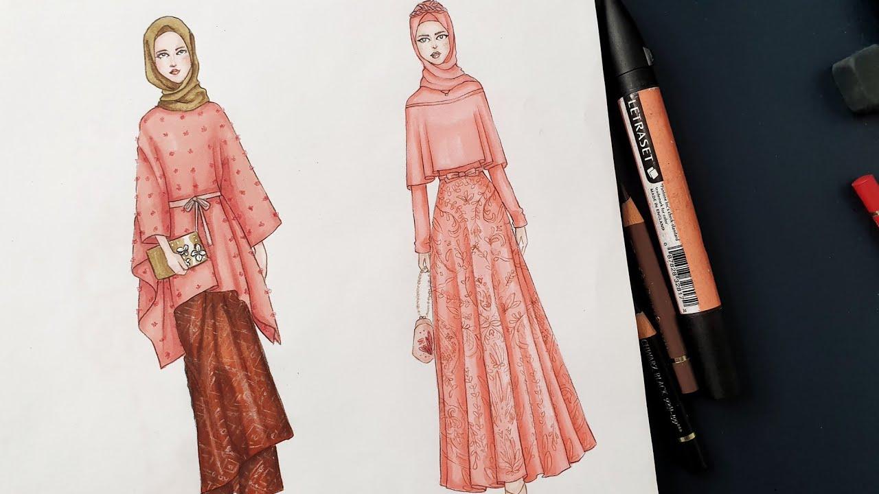 Gambar Desain Baju Gamis Pesta Model Terbaru 10  Modest Evening Dress  Fashion Illustration ❤️