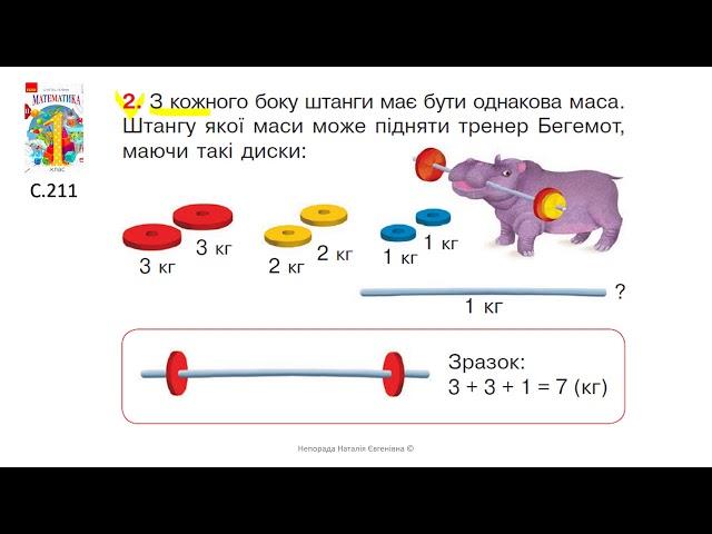 1 клас.  Математика. Задачі на порівняння та вирівнювання маси предметів.