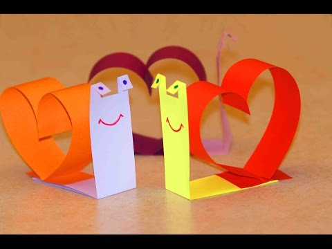 Поделки на День Валентина. Улитка из бумаги ко Дню Влюбленных
