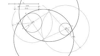 Circunferencia de radio conocido tangente interior a dos circunferencias dadas