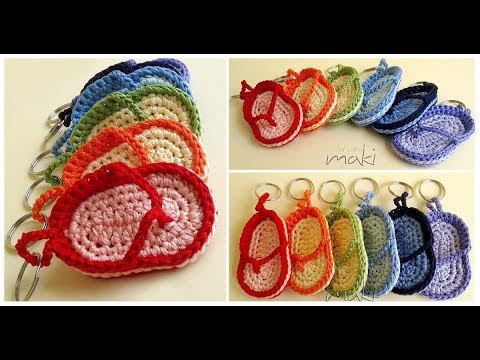 How To Crochet Flip Flop Key Chain Youtube