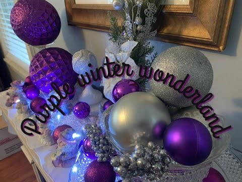 Purple Winter Wonderland Mantle Decor - Use What You Have Decor - Silver And Purple  Santa Snowmen