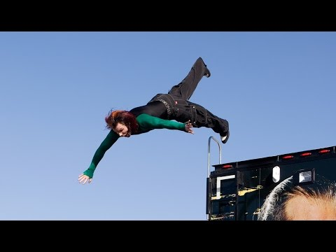 Jeff Hardy jumps off the top of a WWE production truck: One Night Stand 2008
