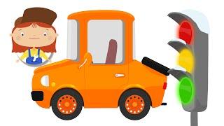 Die Sicherheit im Straßenverkehr für Kinder. Baufahrzeuge mit Dr. McWheelie. Eine Familie cartoon.