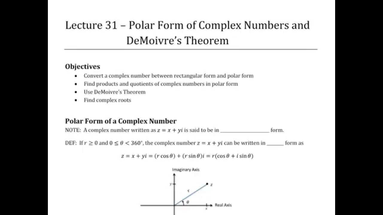polar form of complex numbers and demoivre s theorem trigonometry lecture 31 youtube. Black Bedroom Furniture Sets. Home Design Ideas