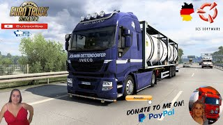 "Euro Truck Simulator 2 (1.40 Beta)   Small Tribute to new Members Contact me  vanelli.isabella@gmail.com  Iveco Hi Way Stralis Cursor 11 Sound v2.0 Delivery to Hannover Germnay Reskin Sommer Cistern Trailer by TZ Express Animated gates in companies v3.7 [Schumi] Real Company Logo v1.0 [Schumi] Company addon v1.9 [Schumi] Trailers and Cargo Pack by Jazzycat Motorcycle Traffic Pack by Jazzycat FMOD ON and Open Windows Naturalux Graphics and Weather Spring Graphics/Weather v3.6 (1.38) by Grimes Test Gameplay ITA Europe Reskin v1.0 + DLC's & Mods https://forum.scssoft.com/viewtopic.php?f=211&t=218071  For Donation and Support my Channel https://paypal.me/isabellavanelli?loc????...  SCS Software News Iberian Peninsula Spain and Portugal Map DLC Planner...2020 https://www.youtube.com/watch?v=NtKeP????... Euro Truck Simulator 2 Iveco S-Way 2020 https://www.youtube.com/watch?v=980Xd????... Euro Truck Simulator 2 MAN TGX 2020 v0.5 by HBB Store https://www.youtube.com/watch?v=HTd79????...  All my mods I use in the video Promods map v2.51 https://www.promods.net/setup.php???? Traffic mods by Jazzycat https://sharemods.com/hh8z6h9ym82b/pa????... https://sharemods.com/lpqs4mjuw3h6/ai????... https://ets2.lt/en/painted-bdf-traffi????... https://sharemods.com/eehcavh87tz9/bu????... Graphics mods https://download.nlmod.net/???? https://grimesmods.wordpress.com/2017????... Europe Reskin https://forum.scssoft.com/viewtopic.p????... Trailers pack https://ets2.lt/en/trailers-and-cargo????... https://tzexpress.cz/???? Others mods Company addon v1.8 [Schumi] https://forum.scssoft.com/viewtopic.p????... Real Company Logo v1.3 [Schumi] https://forum.scssoft.com/viewtopic.p????... Animated gates in companies v3.8 [Schumi https://forum.scssoft.com/viewtopic.p????...  #TruckAtHome???? #covid19italia???? Euro Truck Simulator 2    Road to the Black Sea (DLC)    Beyond the Baltic Sea (DLC)   Vive la France (DLC)    Scandinavia (DLC)    Bella Italia (DLC)   Special Transport (DLC)   Cargo Bundle (DLC)   Vive la France (DLC)    Bella Italia (DLC)    Baltic Sea (DLC) Iberia (DLC)   American Truck Simulator New Mexico (DLC) Oregon (DLC) Washington (DLC) Utah (DLC) Idaho (DLC) Colorado (DLC)  My favorite Youtubers Neranjana Wijesinghe https://www.youtube.com/c/NeranjanaWi????... H&AHoney Gaming BG https://www.youtube.com/c/HAHoneyGami...? Fox On The Box https://www.youtube.com/c/FoxOnTheBox???? ZN GAMER https://www.youtube.com/channel/UCUSQ????... Kapitan Kriechbaum https://www.youtube.com/channel/UCrEQ????... Darwen https://www.youtube.com/channel/UCyK8????... SimülasyonTÜRK https://www.youtube.com/user/simulasy????... Squirrel https://www.youtube.com/user/DaSquirr????... Toast https://www.youtube.com/channel/UCy2R????... Jeff Favignano https://www.youtube.com/user/jfavigna...?     I love you my friends Sexy truck driver test and gameplay ITA  Support me please thanks Support me economically at the mail vanelli.isabella@gmail.com  Roadhunter Trailers Heavy Cargo  http://roadhunter-z3d.de.tl/???? SCS Software Merchandise E-Shop https://eshop.scssoft.com/????  Euro Truck Simulator 2 http://store.steampowered.com/app/227????... SCS software blog  http://blog.scssoft.com/????  Specifiche hardware del mio PC: Intel I5 6600k 3,5ghz Dissipatore Cooler Master RR-TX3E  32GB DDR4 Memoria Kingston hyperX Fury MSI GeForce GTX 1660 ARMOR OC 6GB GDDR5 Asus Maximus VIII Ranger Gaming Cooler master Gx750 SanDisk SSD PLUS 240GB  HDD WD Blue 3.5"" 64mb SATA III 1TB Corsair Mid Tower Atx Carbide Spec-03 Xbox 360 Controller Windows 10 pro 64bit"