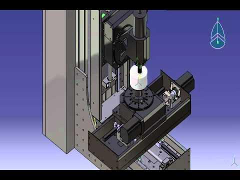 Mô phỏng máy phay 5 trục bằng Catia_Five axis milling cnc machine simulation by Catia