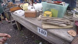 Selling at the flea market on a foggy morning making cash not a ton of competition
