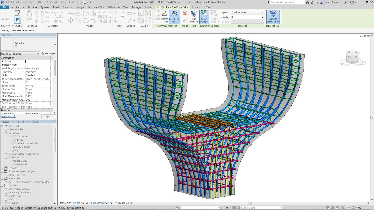 Revit 2018 1 New Feature - Free Form Rebar Distribution
