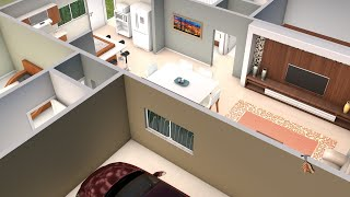 House plan with three bedrooms and American kitchen YouTube