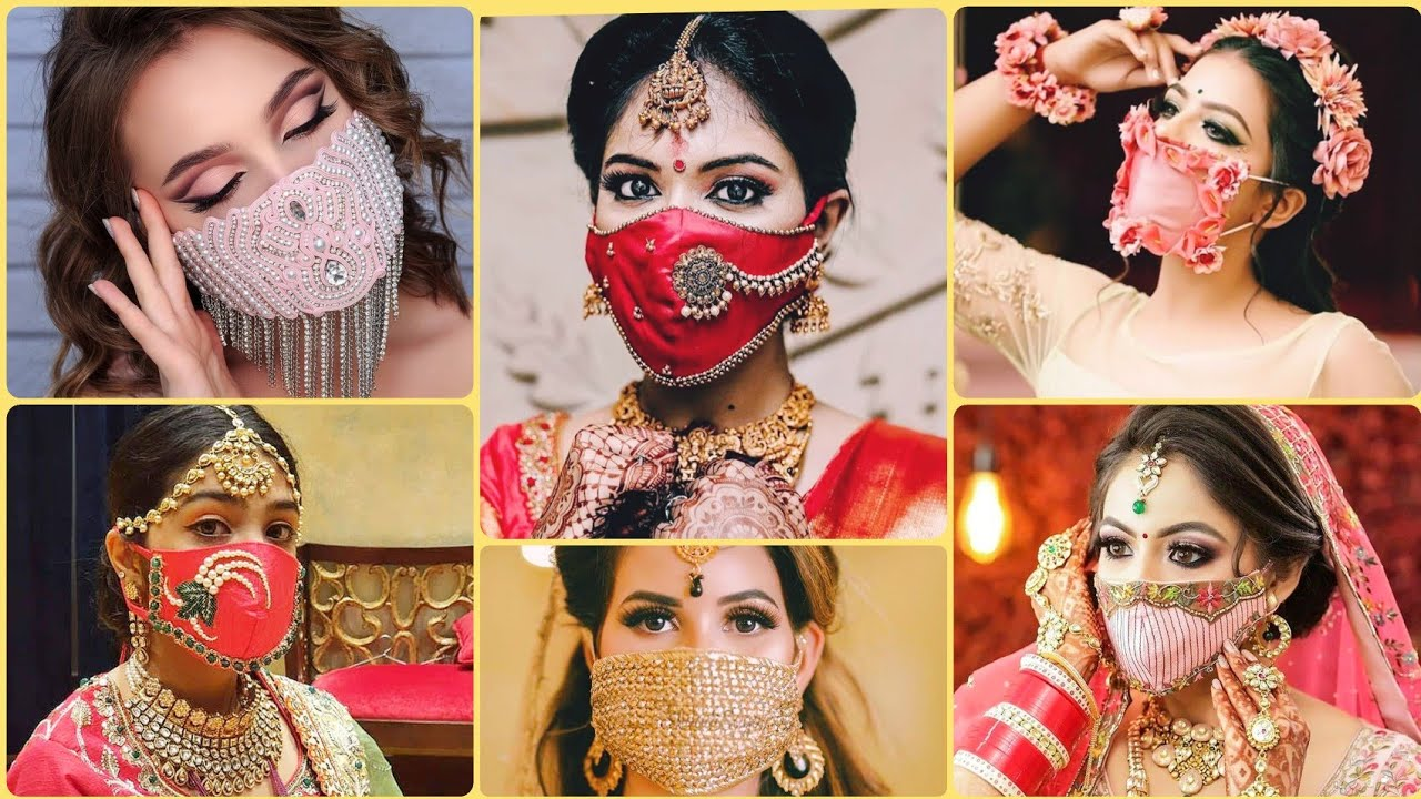 Embroidery Mask For Bride | दुल्हन के लिये डिझाईनर मास्क | Bridal Mask Design |