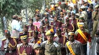 Indian musical band play religious tunes at Kullu Dussehra festival