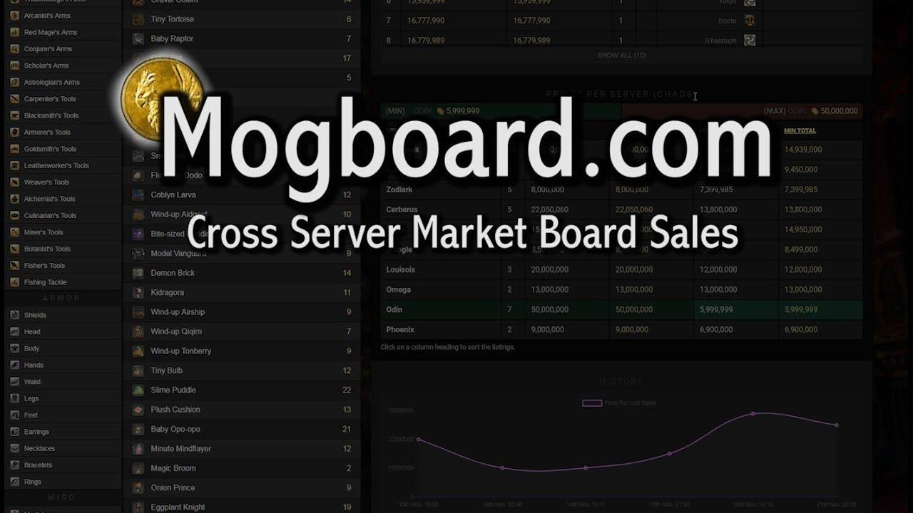 FFXIV: Mogboard - A Cross Server Market Board Tool!