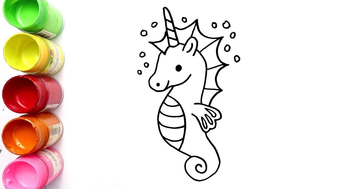 Cara Menggambar Dan Mewarnai Kuda Laut Bagus