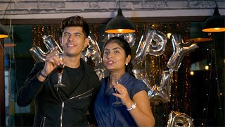 Young Indian couple celebrating new year's eve together in a club