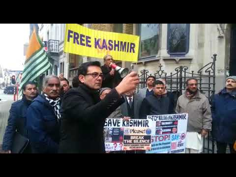 Kashmir council Europe protest at Indian embassy Brussels