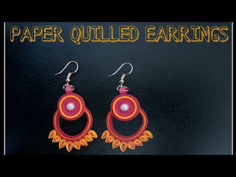 Paper Quilled Earrings - DIY 》 Handmade earrings