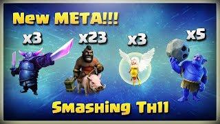 New Meta: 3 Pekka+3 Healer+23 Hogs+5 Bowlers | TH11 War Strategy #180 | COC 2018 |