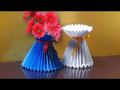 How To Make A Paper Flower Vase | Very Easy And Simple Way |
