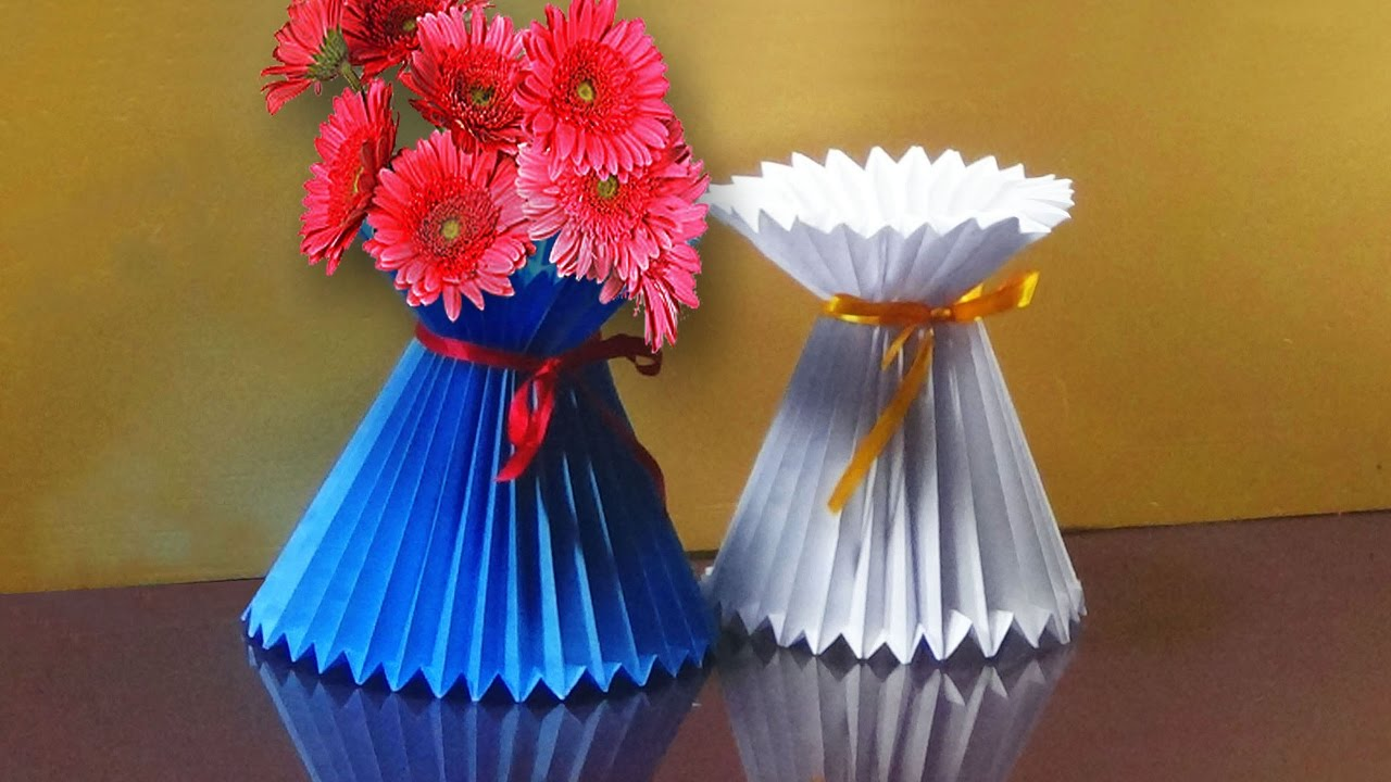 How To Make A Paper Flower Vase Very Easy And Simple Way Youtube