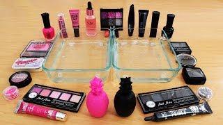 Mixing Makeup Eyeshadow Into Slime! Pink vs Black Special Series Part 39 Satisfying Slime Video