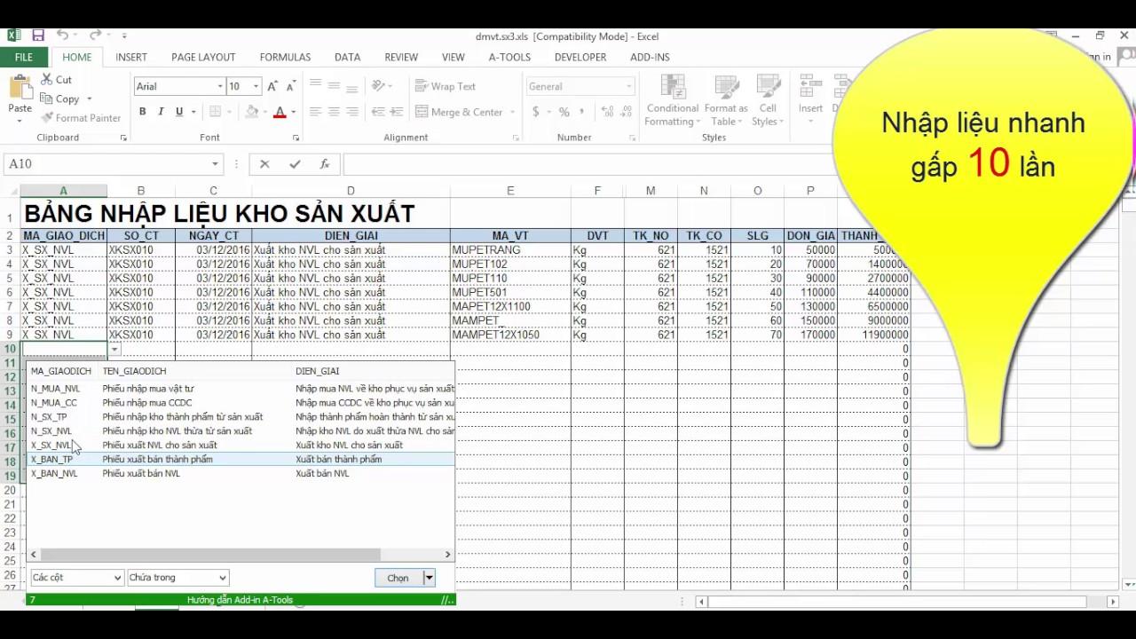 Nhập liệu nhanh chứng từ sản xuất trong Excel cùng Add-in A-Tools