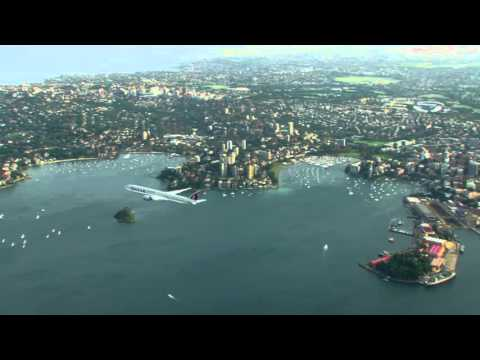 Resultado de imagem para A Pilot's View - Qatar Airways Boeing 777 Flyover of Sydney Harbour Qatar Airways