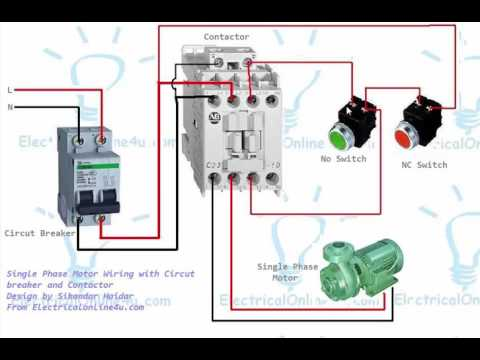 hqdefault single phase motor contactor wiring diagram in urdu & hindi youtube 3 phase contactor with overload wiring diagram at crackthecode.co