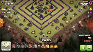 Clash of Clans th9 max base attack by th8