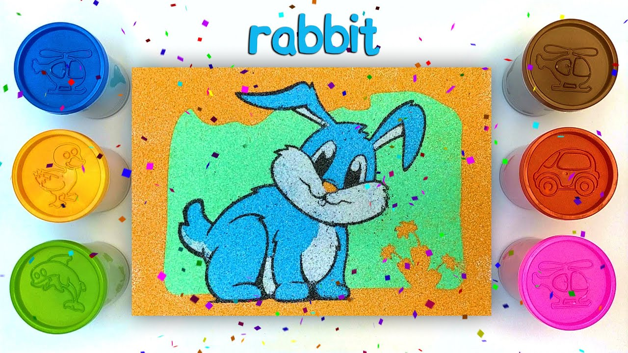 Painting With Colorful Sand l Sand Painting Series l Rabbit l Kum Boyama l Coloring & Drawing l #22