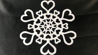 как сделать снежинку из бумаги в форме сердечек. How to make a snowflake. Origami DIY. DIY