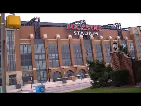 Lucas Oil Stadium drive by, and Downtown Indianapolis