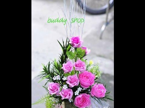 Cách làm hoa hồng từ giấy nhún