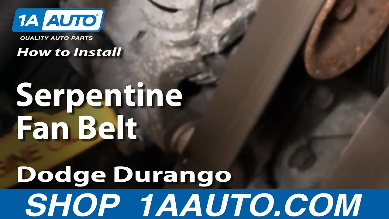 how to install replace serpentine fan belt dodge dakota durango 92 03 1aauto com youtube [ 1920 x 1080 Pixel ]