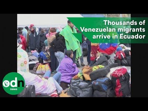 Thousands of Venezuelan migrants arrive in Ecuador