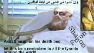 Ariel sharon on his death bed !!!!!!! Allah hu akbar