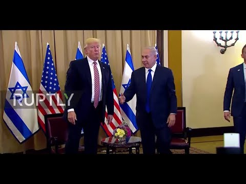 Thumbnail: Israel: Second time's a charm! Trump shakes hands with Netanyahu after failed first attempt