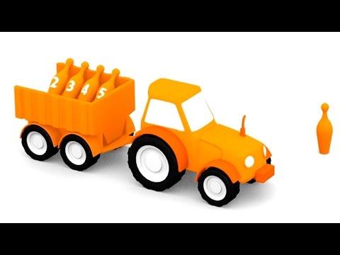 Мультики про 4 машинки Трактор. Цвета для детей: ОРАНЖЕВЫЙ