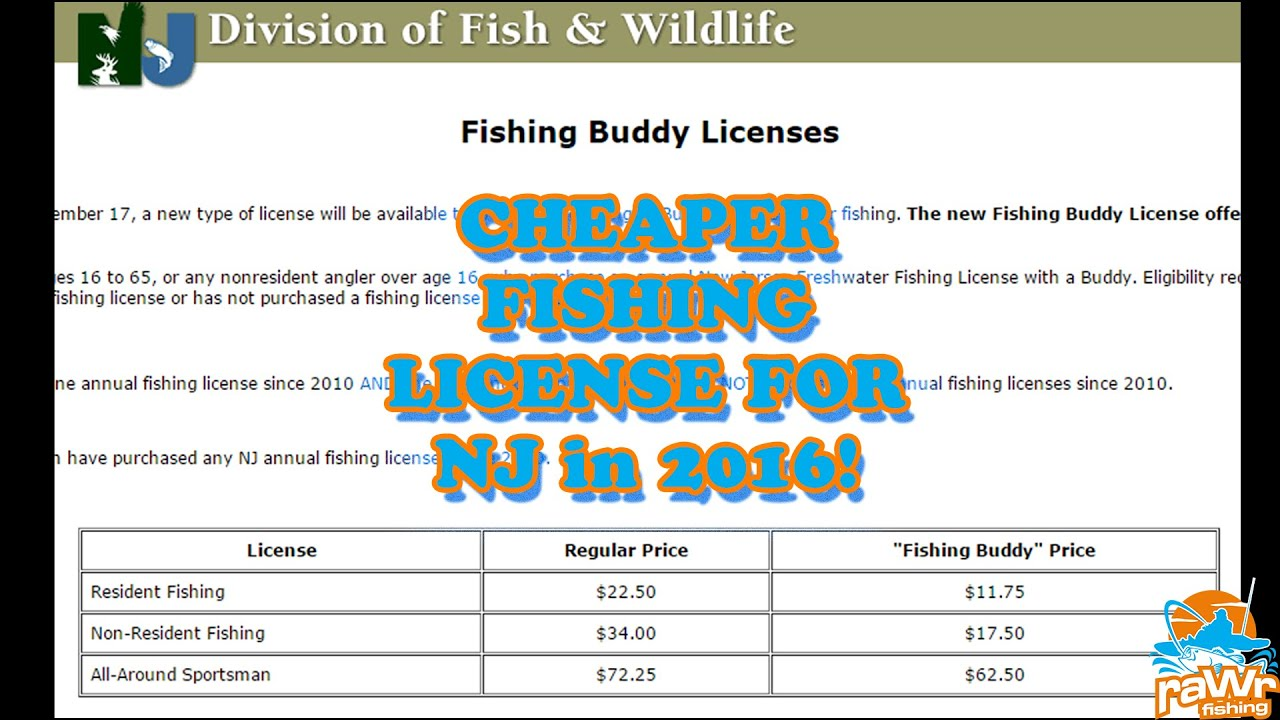 2016 nj fishing license fishing buddy program cheap for Nc wildlife fishing license