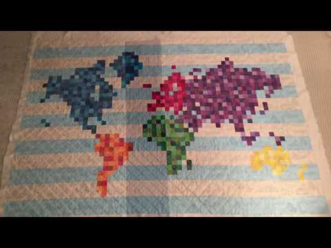 Pixelated World Map Quilt - Time lapse