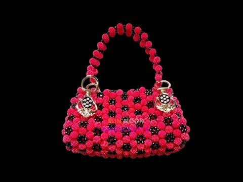 How to make beaded cosmetic/ party bag(part-2)/beaded bag