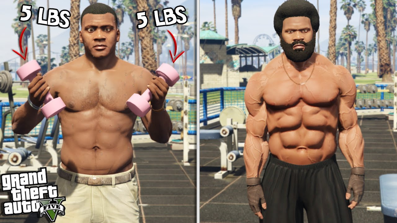 FRANKLIN becomes a BODY BUILDER (GTA 5 Mods) thumbnail