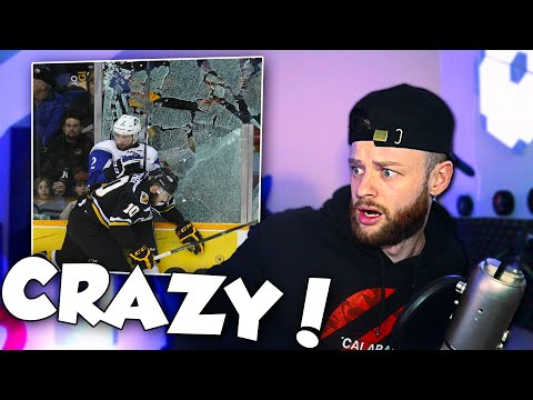 SOCCER FAN Reacts To NHL BROKEN GLASS Moments  ||  NHL REACTION
