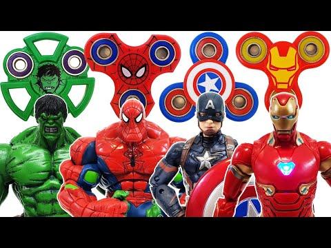 Avengers, Fidget Spinner Go~! Spider-Man, Captain America, Transformer, Bumblebee, Iron Man, Hulk!