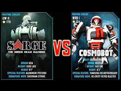REAL STEEL WRB Sarge VS Cosmobot New Robots UPDATE (Живая Сталь)