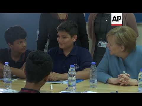 German chancellor visits school in Beirut, meets Berri