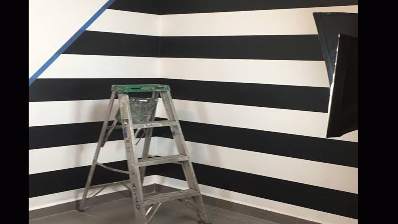 Como pintar rayas en tu pared how to paint lines on your wall youtube - Pintar pared a rayas horizontales ...