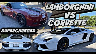 RACE MY CORVETTE VS TIRES R US ( LAMBORGHINI AVENTADOR )