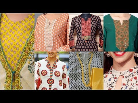 Very Very Latest Neck Designs Ideas With 2 Color Fabric / Ban Collar With Stylish Placket Designs