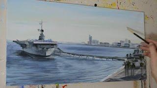 Painting Corpus Christi Bay - USS Lexington Navy Ship